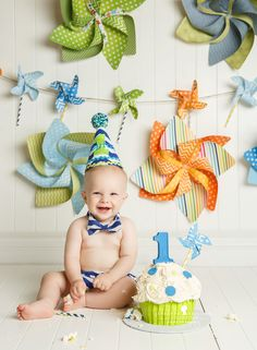 green, orange and blue pinwheels first birthday cakesmash boy www.jeneanne.com