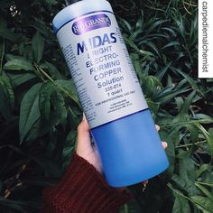 Midas Bright Copper Electroforming Solution keeps your work clean and bright throughout the electroforming cycle with built-in chemical brighteners. This bottle that @Carpediemalchemist is showing off contains one quart of ready-to-use, acid-based solutio