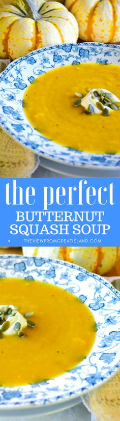 The Perfect Butternut Squash Soup ~ this fragrant, silky soup is the best I've found, and it's so easy to make. Fall doesn't officially begin until we've made a batch of this wonderful soup! #Thanksgiving #fallsoup #easysoup #healthysoup #Thanksgivingsoup #glutenfree