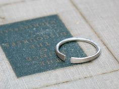 forged silver band- minimalist ring, adjustable