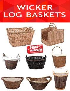 Wicker Log Wood Basket Large Hamper Gift Willow Laundry Picnic Storage Trolley #Inglenook