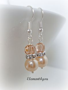 Bridesmaid earrings, Peach jewerly, Bridal party gift, Swarovski pearls, Simple pearl drop, Dangle earrings, Wedding jewelry. $10.00, via Etsy.