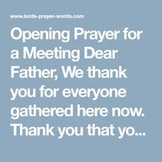 A series of prayers suitable for opening a meeting, worship service or wedding ceremony together with a sample opening prayer. Opening Prayer For Meeting, Closing Prayer, Holy Spirit Prayer, Prayer For Guidance, Prayer For Church, Daily Prayer, Worship, Online Business, Fill