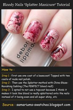 "Bloody Nails ""Splatter Manicure"" Tutorial   Beauty Tutorials"