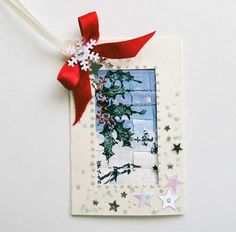 Winter Scene  Gift Tag 03 Unique Cards, Antique Lace, Embroidery Thread, It's Your Birthday, Gift Bags, Greeting Cards, Scene, Make It Yourself, Christmas Ornaments