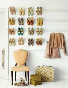 If you love shoes but struggle to find your favorites in the shuffle of your closet, try displaying them on crown molding. It's a great way to bring your beautiful formal heels — the ones you rarely have a chance to wear — into your everyday decor.