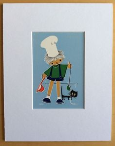 Jaklien Moerman Retro Postcard mounted and ready to frame Tea Time