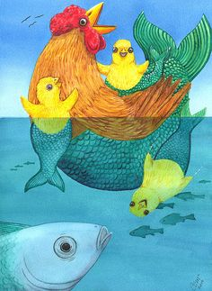 """New artwork, """"MERCHICKENS"""" cards, prints and the original watercolor are available #artforsale"""