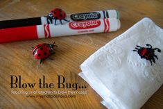 Weekly Kid's Co-op...Blow the Bug! Teaching small children to blow their noses! via www.mysmallpotatoes.com