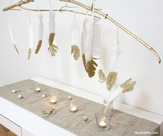 A Bubbly Life: DIY Glitter Feathers Branch Chandelier Decoration Branches, Decorations, Branch Chandelier, Gold Feathers, Gold Diy, Diy Kits, Gold Glitter, Glitter Party, Unique Weddings