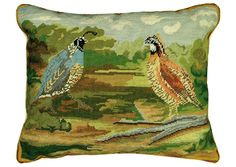 Quail Needlepoint Pillow 2- Quails in Woods