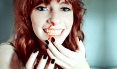 Karina Mignoni (blue eyes, redhead, hairstyle, pale, black nails, smile, blood, makeup)