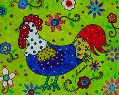 Whimsical Rooster Painting