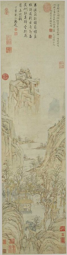 Planting Chrysanthemums by Lu Zhi (Chinese, Ming dynasty. ink and pale colour on paper. River Painting, China Painting, Metropolitan Museum, Chinese Landscape Painting, China Art, China China, Art Japonais, Korean Art, Traditional Paintings