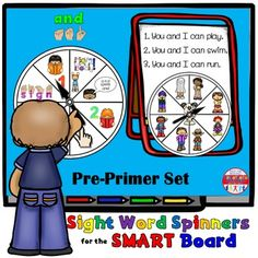 SMARTBoard Lesson: Sight Word Spinners - Pre-Primer - Move