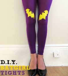 DIY Handpainted Tights Tutorial: Batgirl Edition | by Elise Jimenez First off I would like to say a belated happy 2013 to everyone! I dont know about you, but have been pretty lazy for the first few weeks of this new year. I didnt jump right into any of my resolutions like I normally do.  Thankfully, my mindless browsing on Pinterest actually did some good and inspired me to come up with my first tutorial of the year! (Posting more on here is definitely on the resolutions list