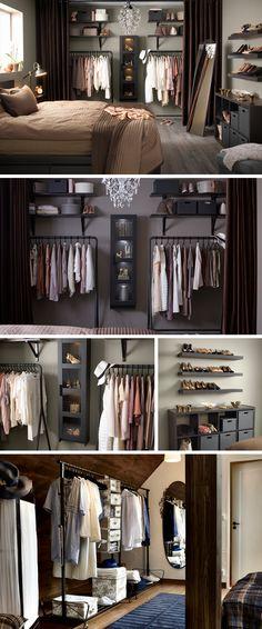I w kobiecej sypialni jako wieszak na najczęściej noszone ubrania i kreacje przygotowane na następny dzień. Obok konieczne jest lustro. Wieszak można ukryć za kotarą.