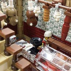 Interior shots of the butchery and the steak house #legomoc #lego #legodesign #legointerior #afol #legomodularbuilding