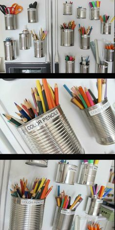 This is such a clever way to organize art supplies and recycle at the same time.