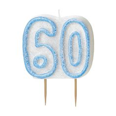 1 X 35 Blue Sparkle 60th Birthday Glitter Cake Decoration Molded Candle -- You can get additional details at the image link.