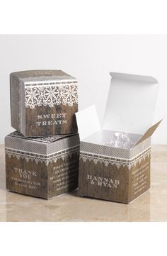 Barnwood and Lace Wedding Favor Box by David's Bridal | Follow us and start pinning pretty paper options - from invitations and save the dates to programs and table numbers - for a chance to win $1,000 to InvitationsbyDavidsBridal.com. Enter here: http://sweeps.piqora.com/rsvpready