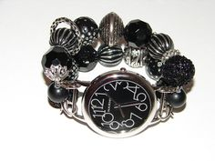 Casual Black Beaded Watch Black Chunky Beaded Watch by BeadsnTime, $30.00