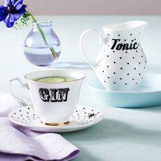'Gin And Tonic' Tea Set. A fun and fabulous set which is perfect for wowing guests at your dinner or tea parties, and is guaranteed to get the table talking and the party started.