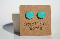 Stud wood Earrings teal  minimalist jewelry delicate jewelry eco mothers day nature gift eco-friendly unique gift for her