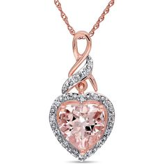 Sofia B 1/10 CT TW Morganite and Diamond Polished 10K Rose Gold Pendant Necklace - This shimmering pendant features a heart-cut morganite and round white diamonds set in 10-karat rose gold. This necklace is hung on a rope chain and is secured with a spring ring clasp. Find it at www.ice.com