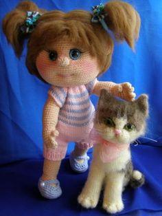 Леська с кошкой - Мои вязульки - Галерея - Форум почитателей амигуруми (вязаной игрушки)