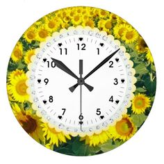 Sunflower Sun Flowers Cute Wall Clock