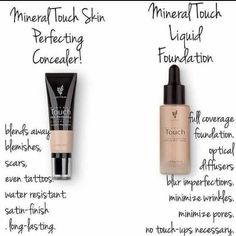 Mineral Touch Concealer and Mineral Touch Foundation! Coverage like no others la. Touch Foundation, Powder Foundation, Foundation Tips, Liquid Foundation, Magical Makeup, Glamorous Makeup, Younique Touch, Pure Cosmetics, Makeup Tutorial Foundation