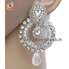 Looking for cool and funky #jewelry accessories. Try this Silver Polished White Stone Fancy #Earring. Get it now online from #LuckyJewellery. This #monsoon season look stunning with this stylish Earring. #jewellery #fashion #style #wedding http://ift.tt/29zS2r5