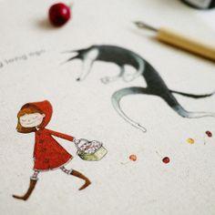 20 x 20 cm, impresa a mano pieza del patrón, Caperucita Roja y el Lobo, la tela de lino del algodón
