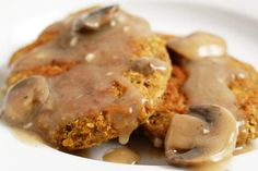 Quinoa and Red Lentil Cutlets with Mushroom Gravy (FatFreeVegan)