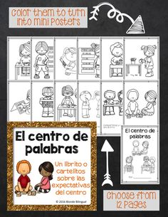 El centro de palabras (word work center) mini book is great for teaching your students the expectations for what to do when working with words. Color and use as mini posters!
