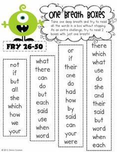 Word Fluency practice sheets FREEBIE