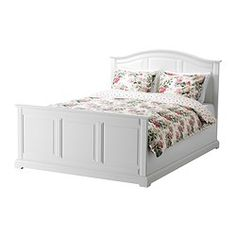 Beautiful bed frame! Simple with just enough detail! It wouldn't compete with my elaborate bedding.  BIRKELAND Bed frame - Queen, - - IKEA