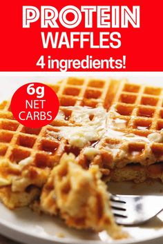 Keto Protein Waffles - Only 4 Ingredients! These actually crispy low carb and keto waffles are packed with protein. Use your favorite whey protein powder, eggs, water, and baking powder to make these delicious and healthy protein waffles. Protein Cupcakes, Protein Brownies, Protein Desserts, Protein Muffins, Protein Cookies, Whey Protein Recipes, Protein Powder Recipes, Protein Foods, Snacks With Protein