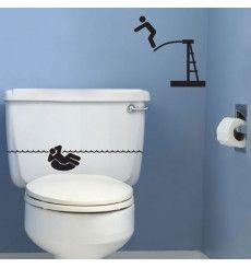 Sticker WC piscine | Fanastick.com Sticker Wc, Sticker Toilette, Cricut, Bathroom, Interior, Decals, Vignettes, Good Ideas, Kitchen