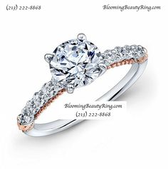 Rose Gold and White Gold Round Diamond Engagement Ring by BloomingBeautyRing.com  (213) 222-8868  #RoseGold #DiamondRing