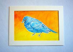 """Blue bird wating"" Watercolour on paper (with passepartout) 21 X 28 cm 2014 $300 MXN 20 USD"