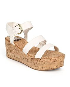 48f646f1be6 Bumper Women Leatherette Open Toe Platform Cork Gladiator Sandal - White      Quickly view this special outdoor item