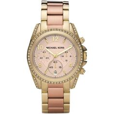Michael Kors MK6316 Women's Blair Chronograph Embellished Bracelet... ($370) ❤ liked on Polyvore featuring jewelry, watches, chronograph watches, gold chronograph watches, rose gold wrist watch, gold wristwatches and pink gold watches