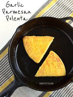 Garlic Parmesan Polenta - BudgetBytes.com - try with fresh garlic instead of powder