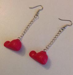 Pink whale earrings, toy whale earrings, upcycled, repurposed earrings by PokeysWorld on Etsy https://www.etsy.com/listing/216658475/pink-whale-earrings-toy-whale-earrings