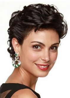 Morena Baccarin Hairstyle Women's Wedding Inspiration Curly Synthetic Hair Lace Front Cap Wigs Short Curly Hairstyles For Women, Short Hair Cuts For Women, Hairstyles Haircuts, Curly Hair Cuts, Wavy Hair, Curly Hair Styles, Curly Bob, Short Wigs, Great Hair