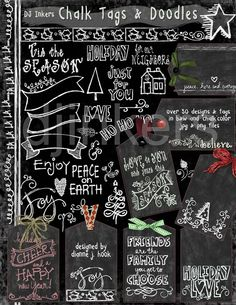 Chalk Tags & Holiday Doodles clip art, chalk Christmas, chalkboard gift tags