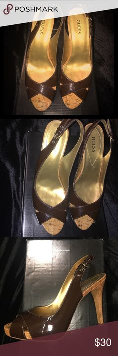 Brand New Brown Patton leather Guess heels!!! Brand New Guess Brown heels!!! Patton leather, open toe, Brown pumps!! Guess Shoes Heels