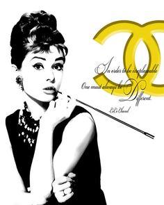 Audrey Hepburn Loves Chanel Pop Art Canvas 16 x 20 # 1101